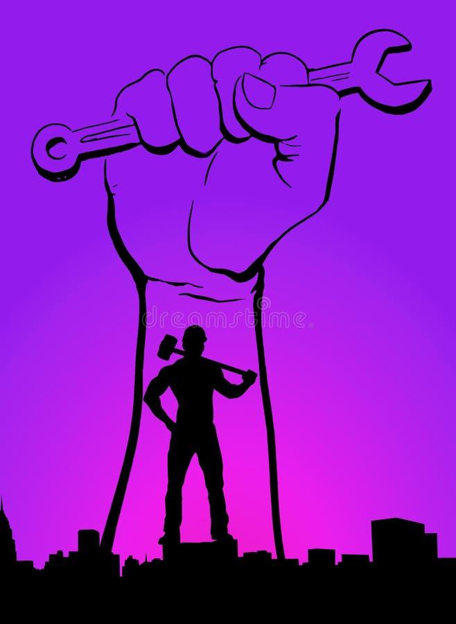 世界工作者天劳动节劳动节紫色紫罗兰色桃红色颜色familybackground人用有扳手横幅的锤子手 向量例证
