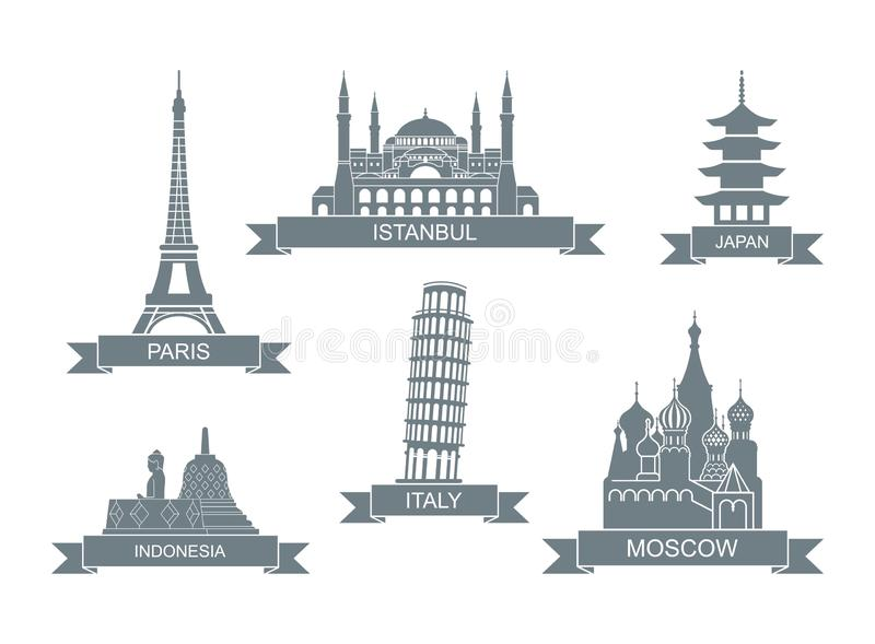 世界建筑吸引力 风格化平的象 地标在巴黎,伊斯坦布尔,日本,意大利,俄罗斯,印度尼西亚 向量例证
