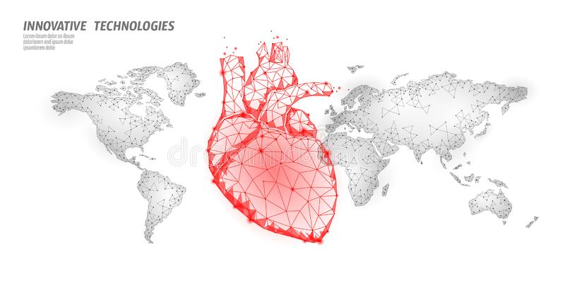 世界心脏攻击天了悟 健康医学海报模板 在世界地图全球性医疗保健的红色多角形心脏 库存例证