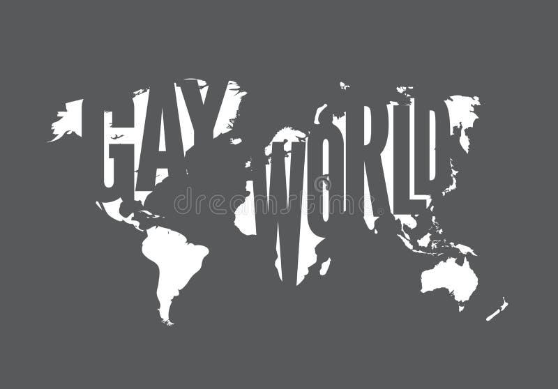 世界快乐地图有灰色白色背景 同性恋例证 与地球传染媒介概述等高的平等旗子  库存例证