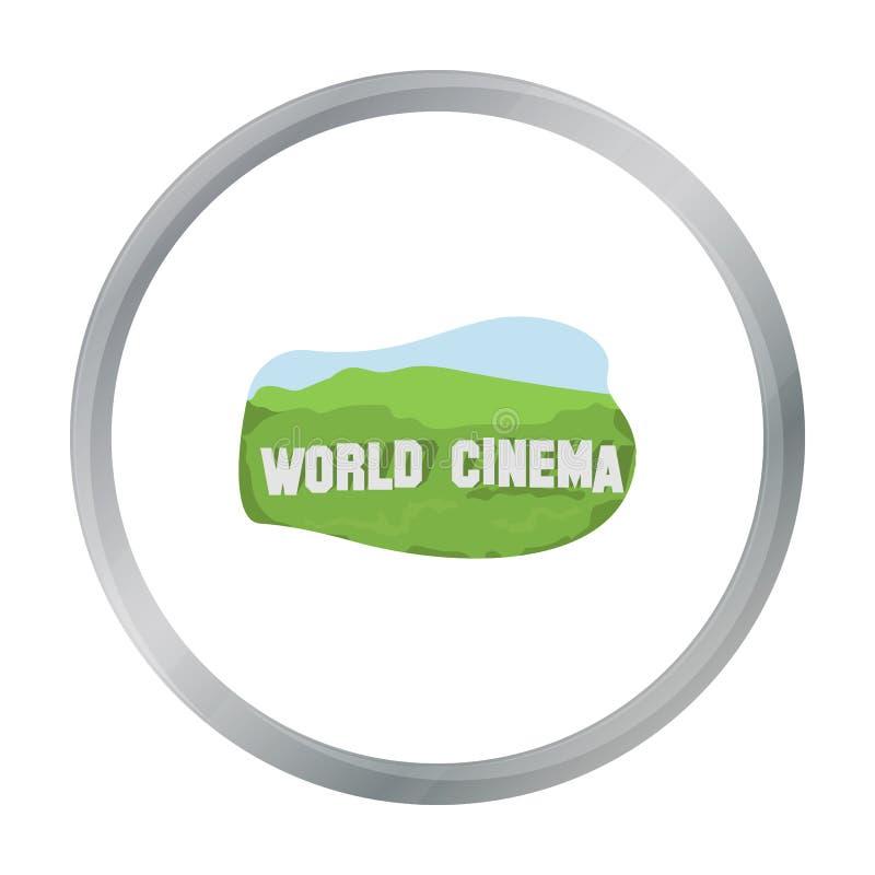 世界戏院在白色背景在动画片样式的标志象隔绝的 美国国家标志股票传染媒介例证 库存例证