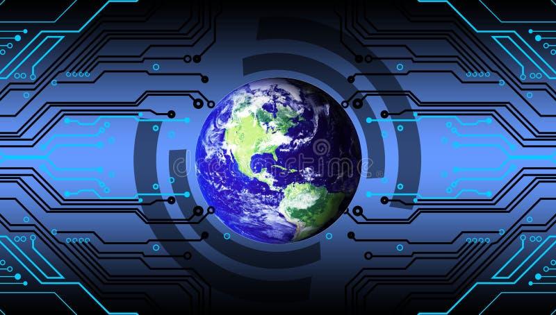 世界或地球有技术背景 企业数据汇集贸易技术背景 向量例证
