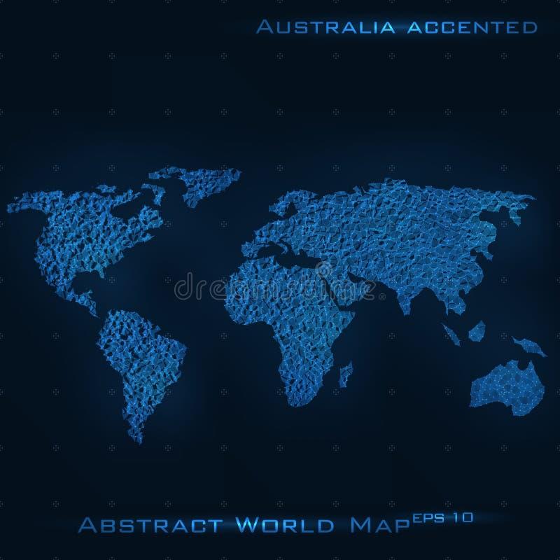世界抽象地图 澳大利亚重读了 向量背景 未来派样式卡片 向量例证