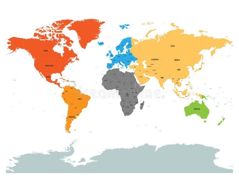 世界政治地图与南极洲的 大陆用在白色背景的不同的颜色 黑色标签以状态和 向量例证