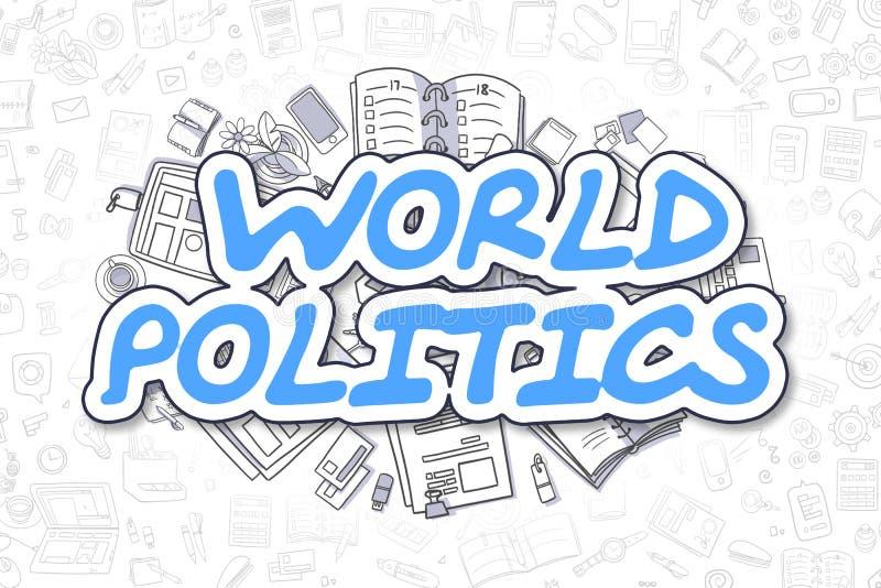 世界政治学-乱画蓝色词 到达天空的企业概念金黄回归键所有权 皇族释放例证