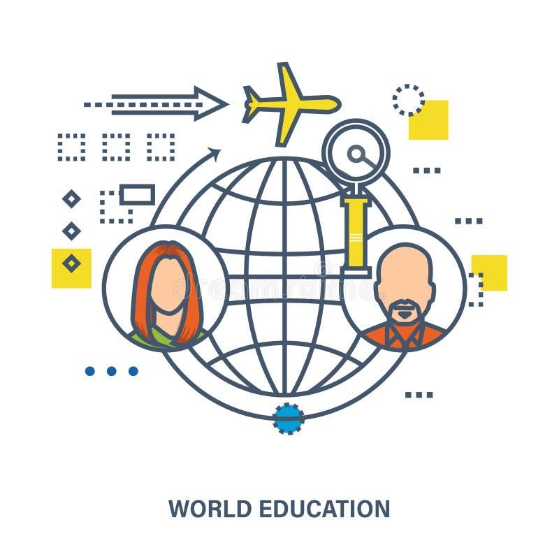 世界教育-概念传染媒介例证 库存例证