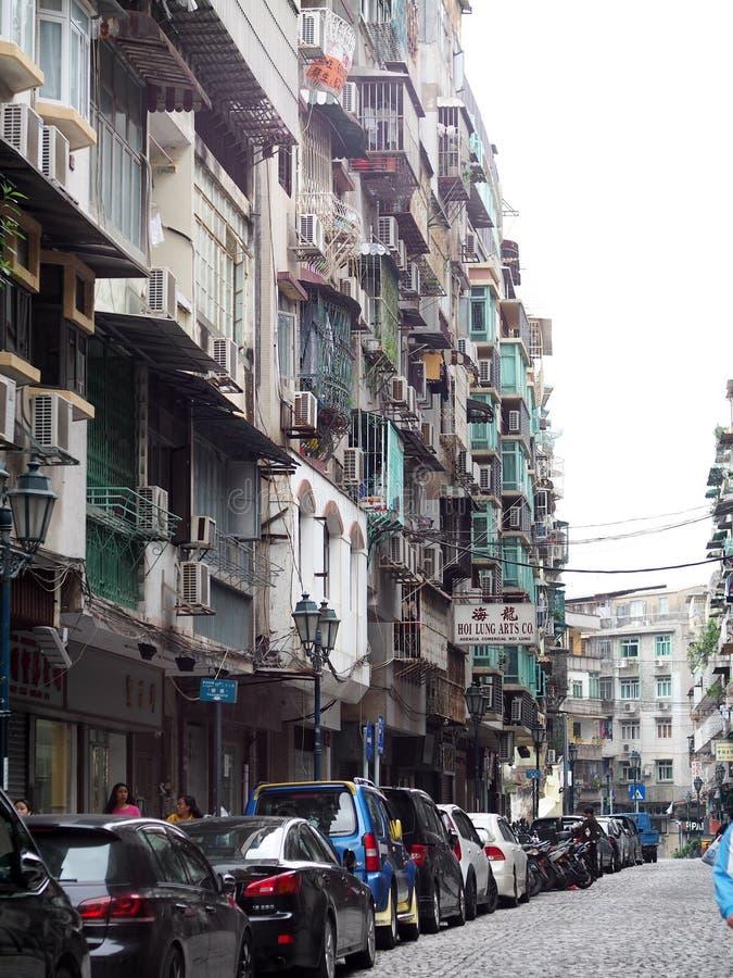 世界文化遗产澳门澳门的街市狭窄的街道 免版税库存照片