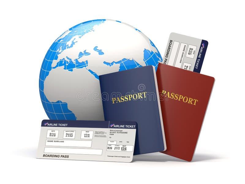 世界旅行。 地球、飞机票和护照。 3d 库存例证
