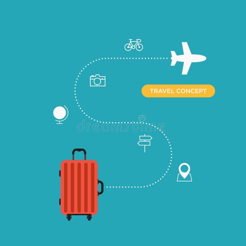 世界旅行概念平的设计 向量例证