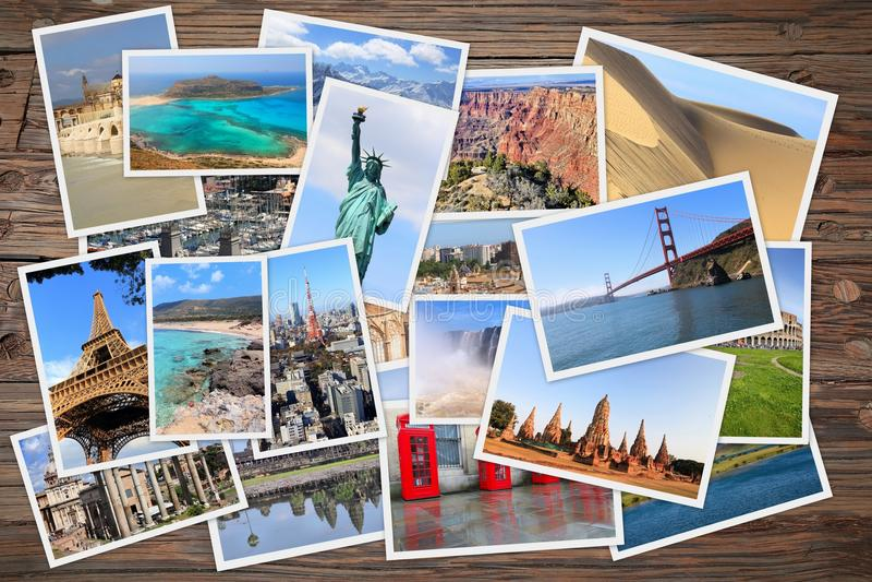 世界旅行照片堆 免版税库存照片