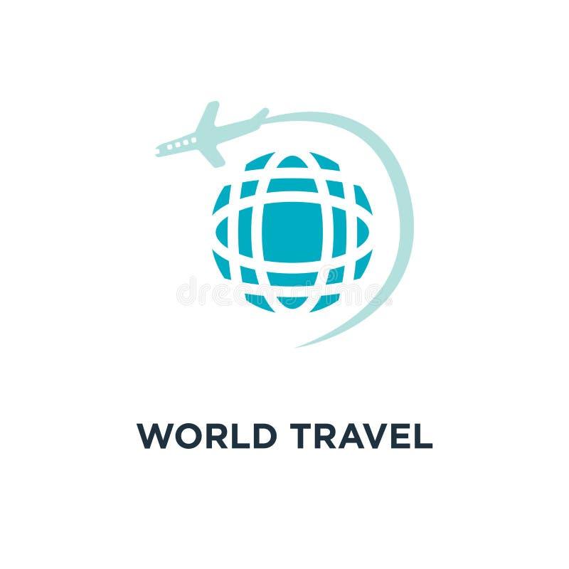 世界旅行象 平的概念标志设计,企业trave 库存例证