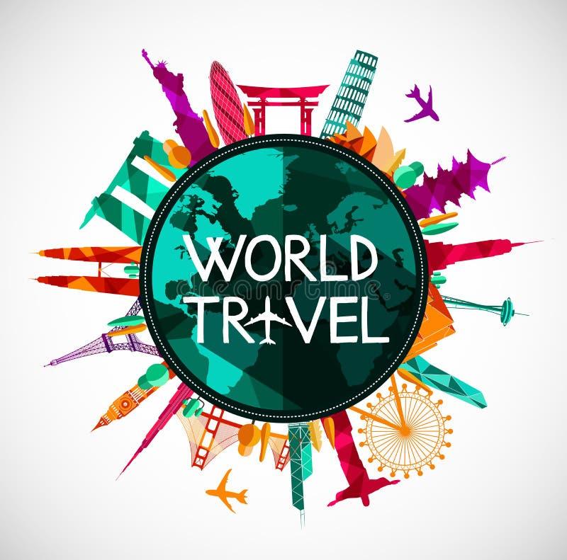 世界旅行,地标地平线剪影 皇族释放例证