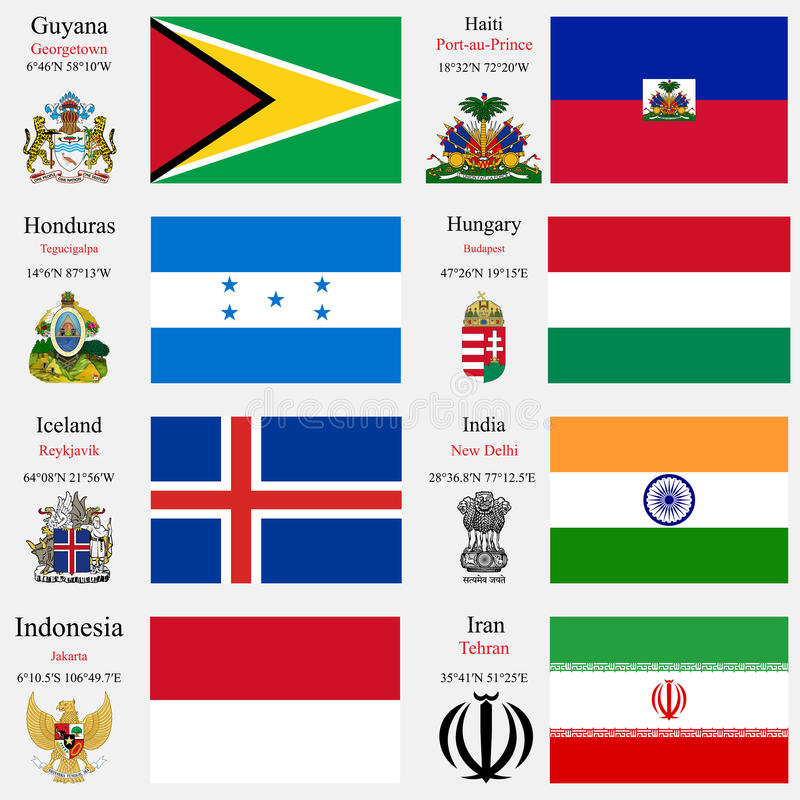世界旗子和资本设置了10 库存例证