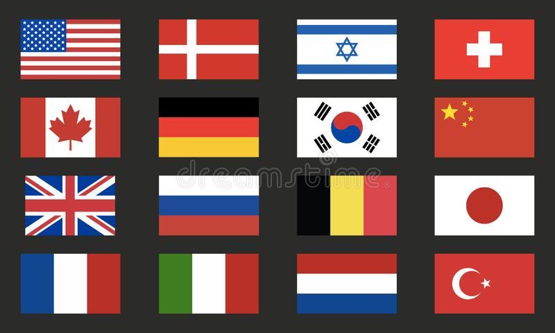 世界旗子导航集合 世界在黑背景隔绝的旗子象 背景设计要素空白四的雪花 库存例证