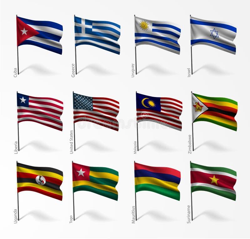 世界旗子的汇集在旗杆的 库存例证