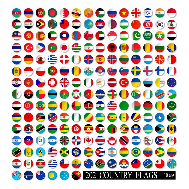 世界旗子被隔绝的所有传染媒介颜色 库存例证