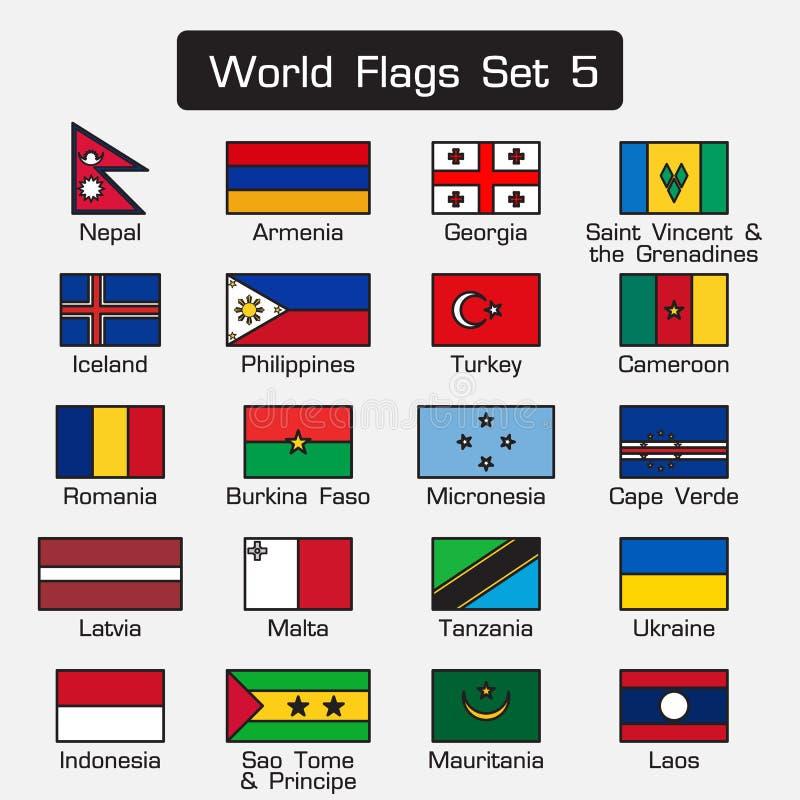 世界旗子设置了5 简单的样式和平的设计 厚实的概述 向量例证