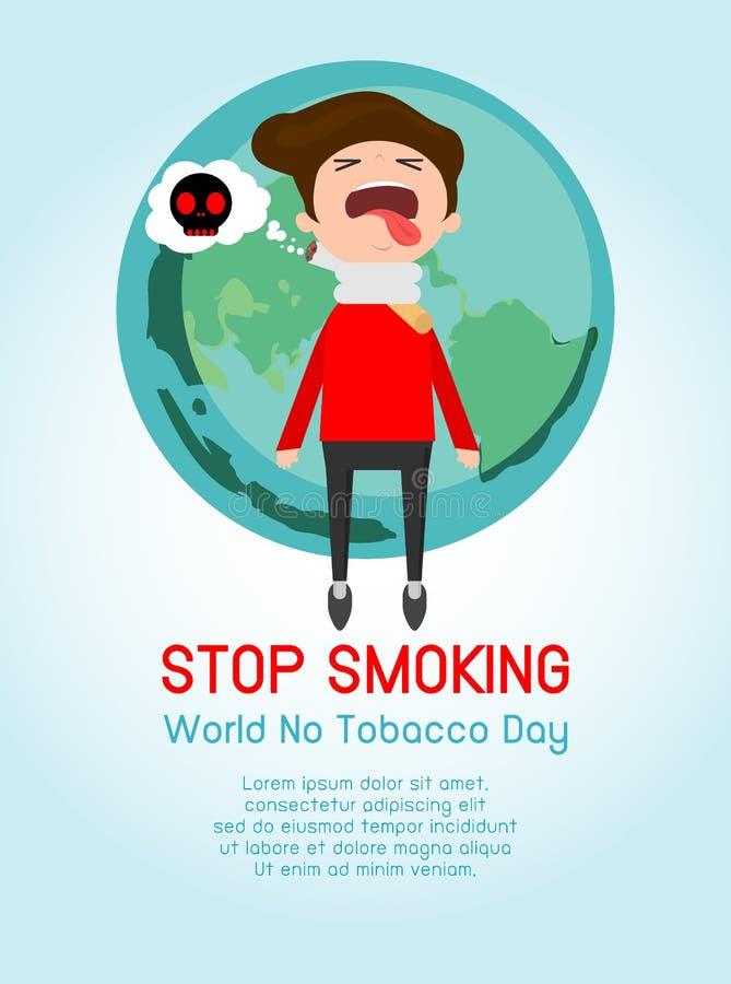 世界无烟草日, Infographic传染媒介抽烟在背景,香烟的概念中止杀害人,禁烟,动画片传染媒介 向量例证