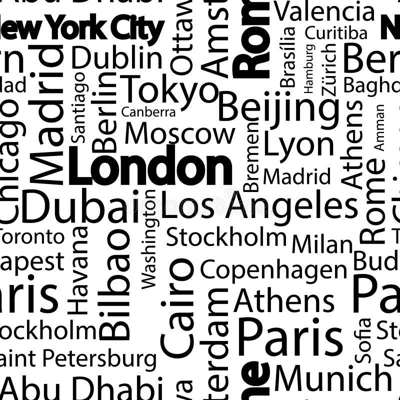 世界无缝的样式城市 与城市的名字的无缝的样式背景 与城市的名字的无缝的样式 向量例证