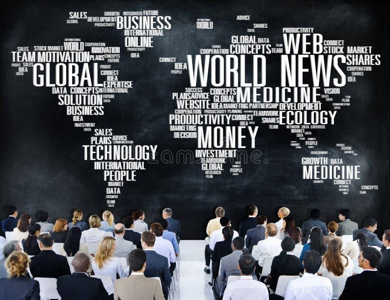 世界日报全球化广告事件浓缩媒介的信息 免版税库存图片