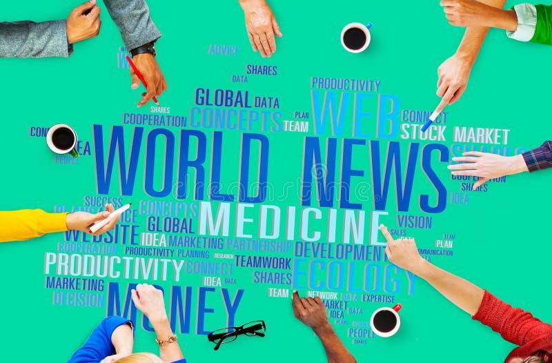 世界日报全球化广告事件浓缩媒介的信息 库存图片