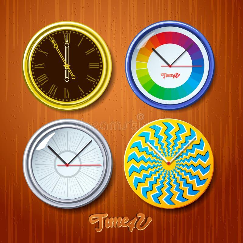 世界时间,在木墙壁上的手表 库存例证