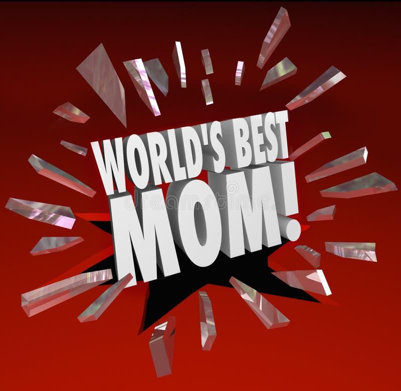 世界最佳的妈妈词断裂通过玻璃高级母亲 向量例证