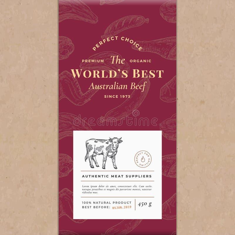 世界最好发牢骚抽象传染媒介工艺纸葡萄酒盖子布局 优质肉成套设计标签 手拉的母牛 皇族释放例证