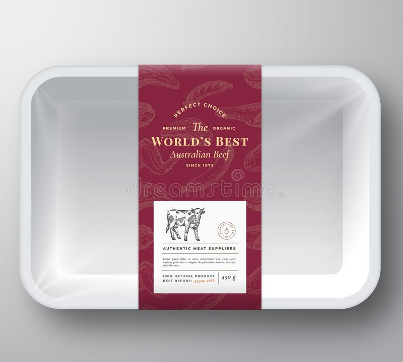 世界最好发牢骚摘要传染媒介塑料盘子容器盖子 优质肉成套设计标签布局 ?? 库存例证