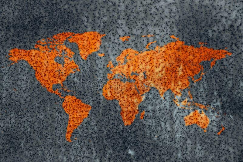 世界朽烂金属地图腐蚀纹理 图库摄影