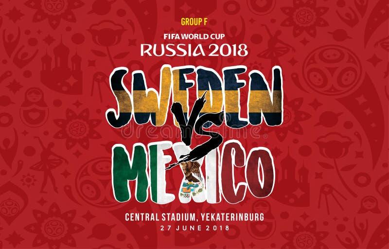 世界杯俄罗斯2018年Grup f瑞典对墨西哥 向量例证
