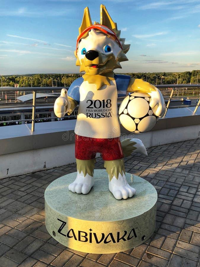 世界杯国际足球联合会2018年吉祥人Zabivaka在俄罗斯喀山 免版税图库摄影