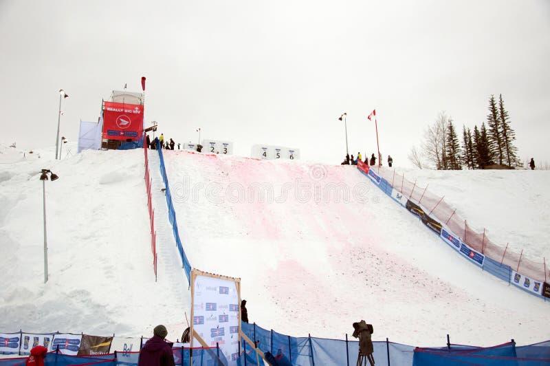 世界杯天线的地点在加拿大Ol的自由式滑雪 免版税图库摄影