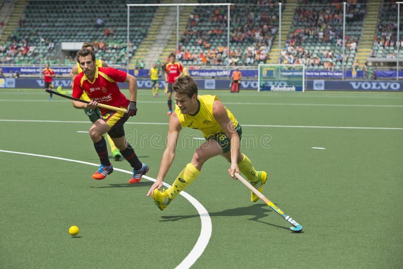 世界杯曲棍球:澳大利亚对西班牙 免版税库存照片