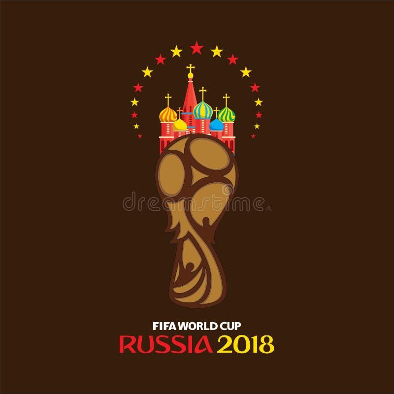 世界杯足球赛2018年海报 库存例证