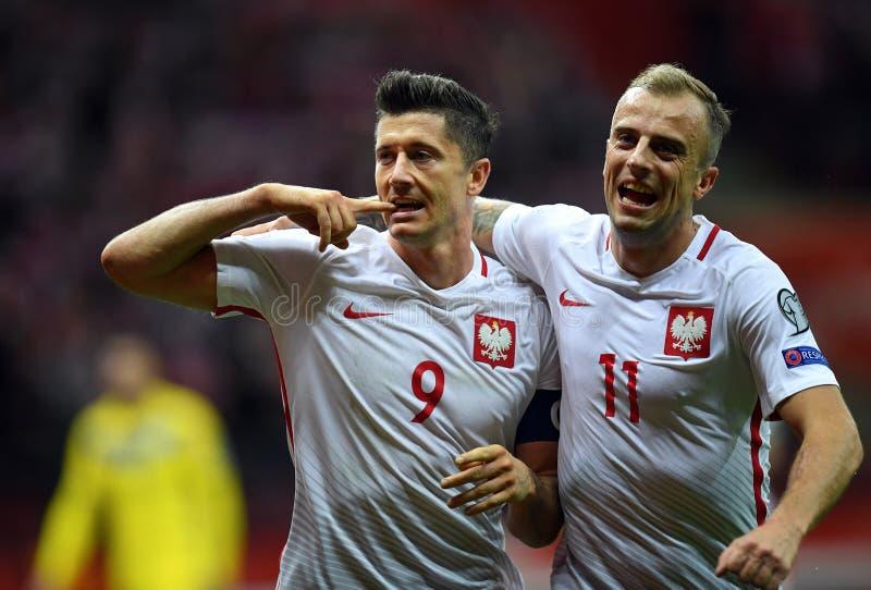 世界杯Rusia 2018年资格比赛波兰-哈萨克斯坦 免版税库存照片