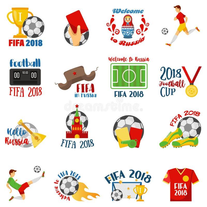 世界橄榄球杯子2018年:球,俄国民间艺术传统元素,俄式三弦琴,筑巢玩偶,橄榄球标志 皇族释放例证