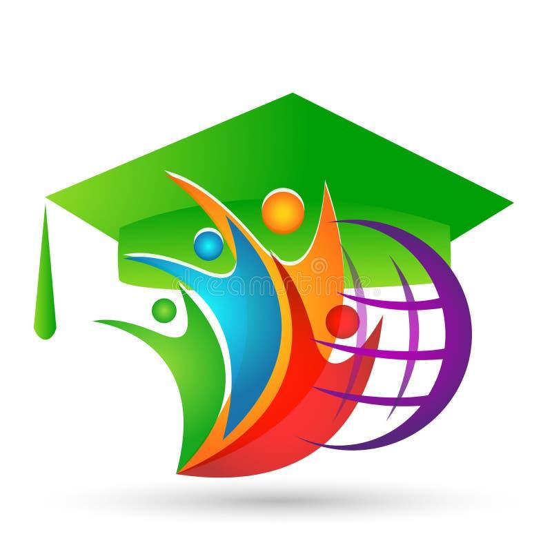 世界毕业在白色背景的人地球商标象成功的毕业学生bacholar象元素 向量例证