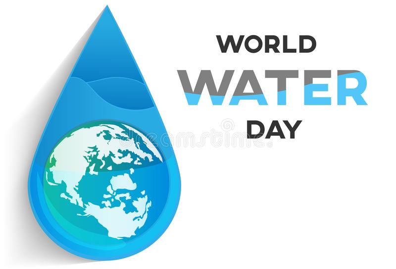 世界水天白色背景、贺卡或者海报竞选救球水的 皇族释放例证