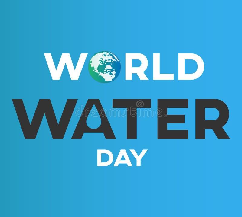 世界水天白色背景、贺卡或者海报竞选救球水的 向量例证