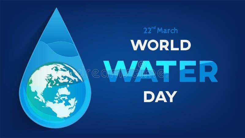 世界水天白色背景、贺卡或者海报竞选救球水的 库存例证