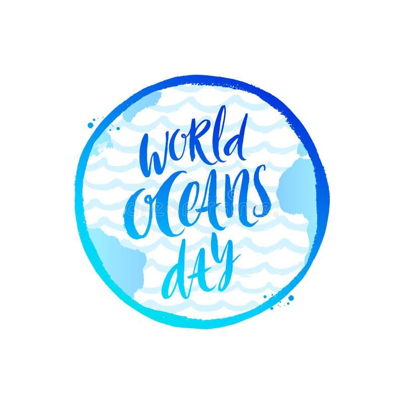 世界海洋天象征-掠过在行星地球背景的书法 皇族释放例证