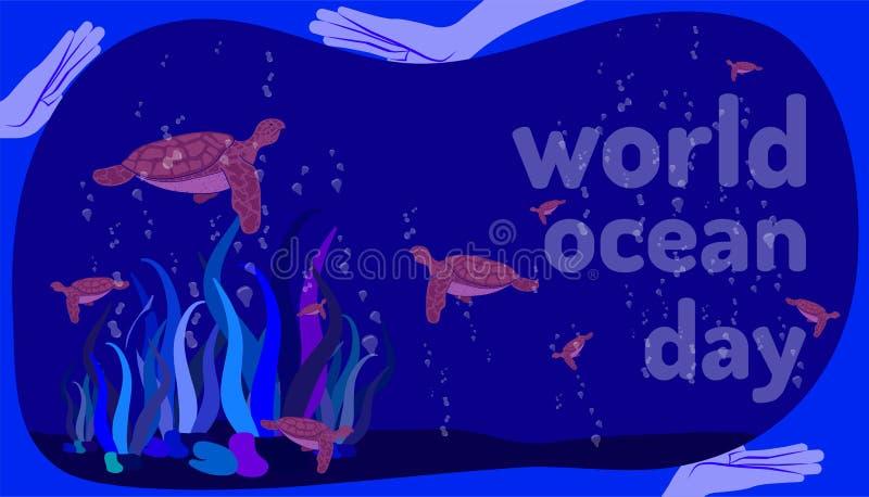 世界海洋天 举行帮助乌龟生活的人的手 画五颜六色的设计样式的乱画手 r 皇族释放例证