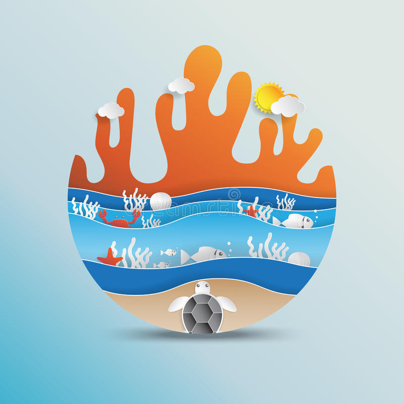 世界海洋天与纸艺术样式的构思设计 皇族释放例证