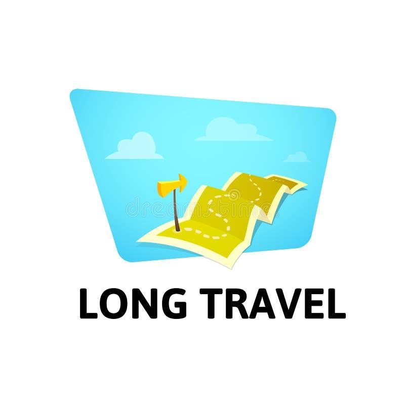世界游览在白色背景隔绝的概念商标,在旅行地图的长的路线与指南标志 向量例证