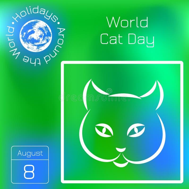世界猫天 一个生态假日的概念 猫表面 线描 系列日历 假日环球 事件  库存例证