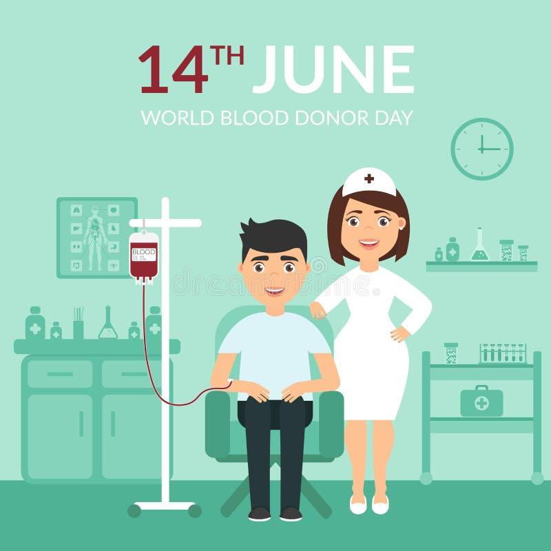 世界献血者天 医学 医疗横幅 胳膊关心健康查出滞后 一位护士或医生诊所的和患者 平面 库存例证