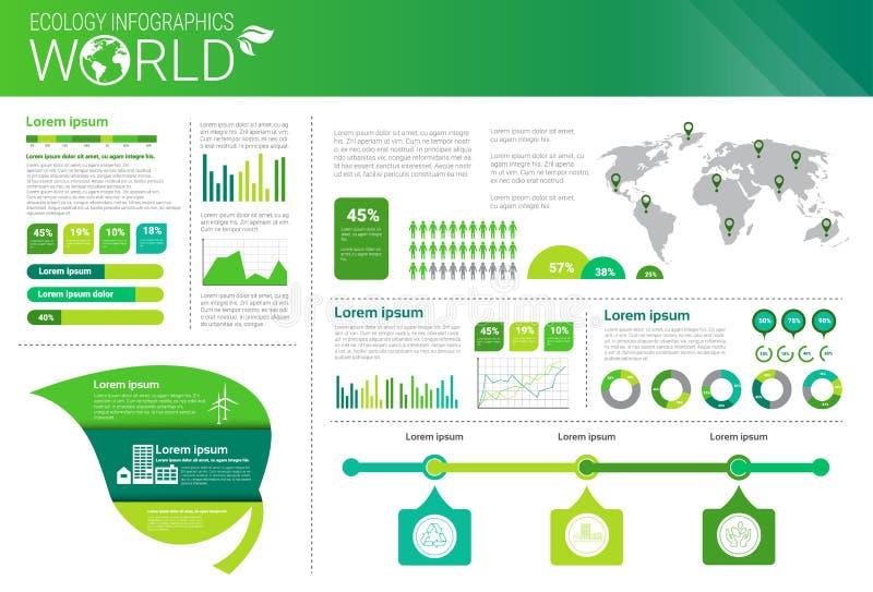世界环境保护绿色能量生态与拷贝空间的Infographics横幅 皇族释放例证