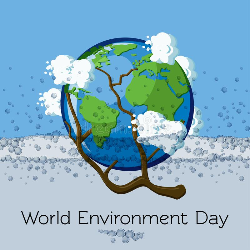 世界环境日与云彩和泡影淹没在水中和围拢的地球的贺卡模板 库存例证