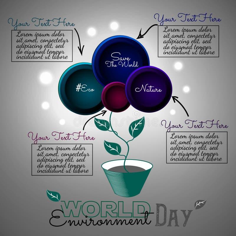 世界环境日传染媒介卡片 Infographics 在罐的抽象花 皇族释放例证